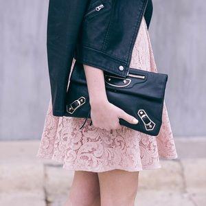 Balenciaga Black Envelope Clutch w/Silver Hardware